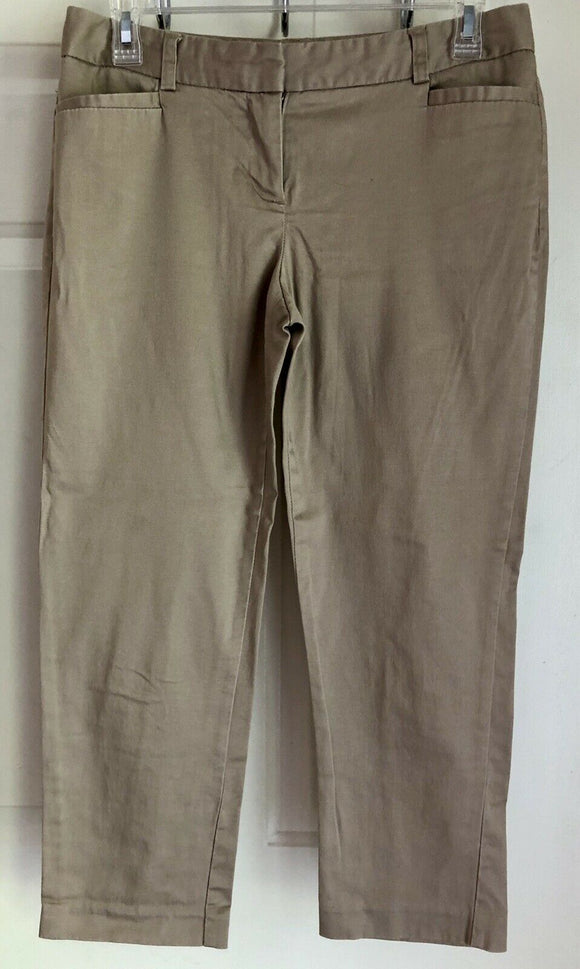 VAN HEUSEN WOMEN'S TAN STRETCH EXTENSIBLE Classic Fit Crop Casual Pants Sz 2 EUC - Outlet Values