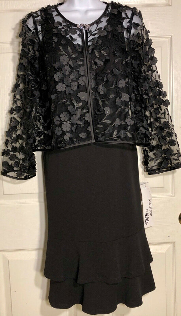 NWT! LASUISSE BY  URSULA OF SWITZERLAND MISSY 2PC BLACK DRESS SHEER JACKETS Sz 8 - Outlet Values