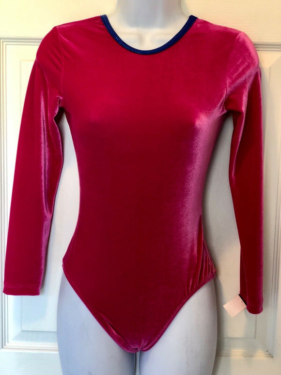 GK ELITE LgSlv LADIES SMALL BERRY VELVET GYMNASTICS DANCE CHEER LEOTARD AS NWT! - Outlet Values