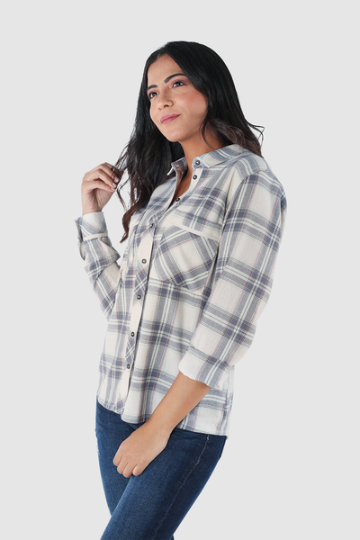 Cotton Flannel Shirt with Two Pockets - 110017