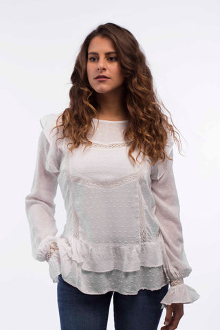 Lace Trim Ruffles Blouse - B1133