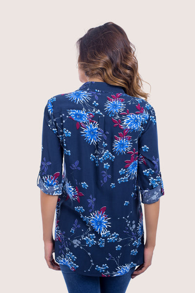Flower Print Loose Shirt - 110050