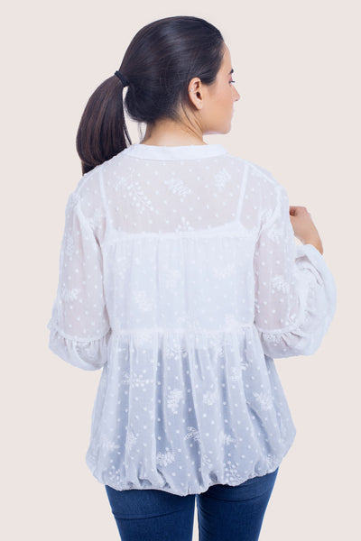Embroidered Chiffon Relaxed Blouse - 110042