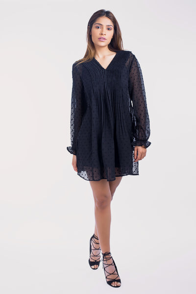 Flowing Chiffon Tunic with Pleats - 110035