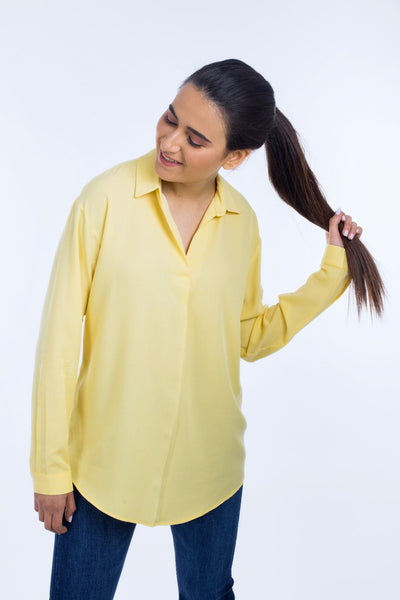 Loose V-Neck Blouse - 110046