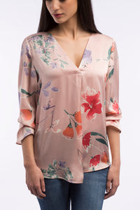 Satin Dreamy Floral Blouse - B1107