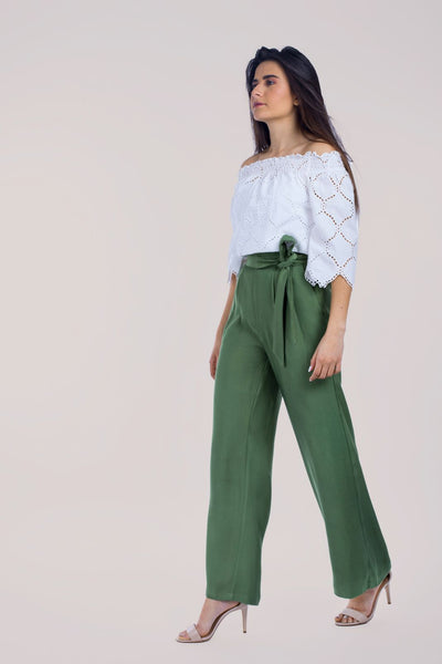 Wide Pant With Tie Bow - 120022