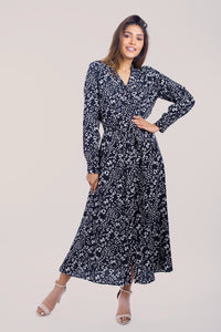 Long Sleeve Belted Dress -160001