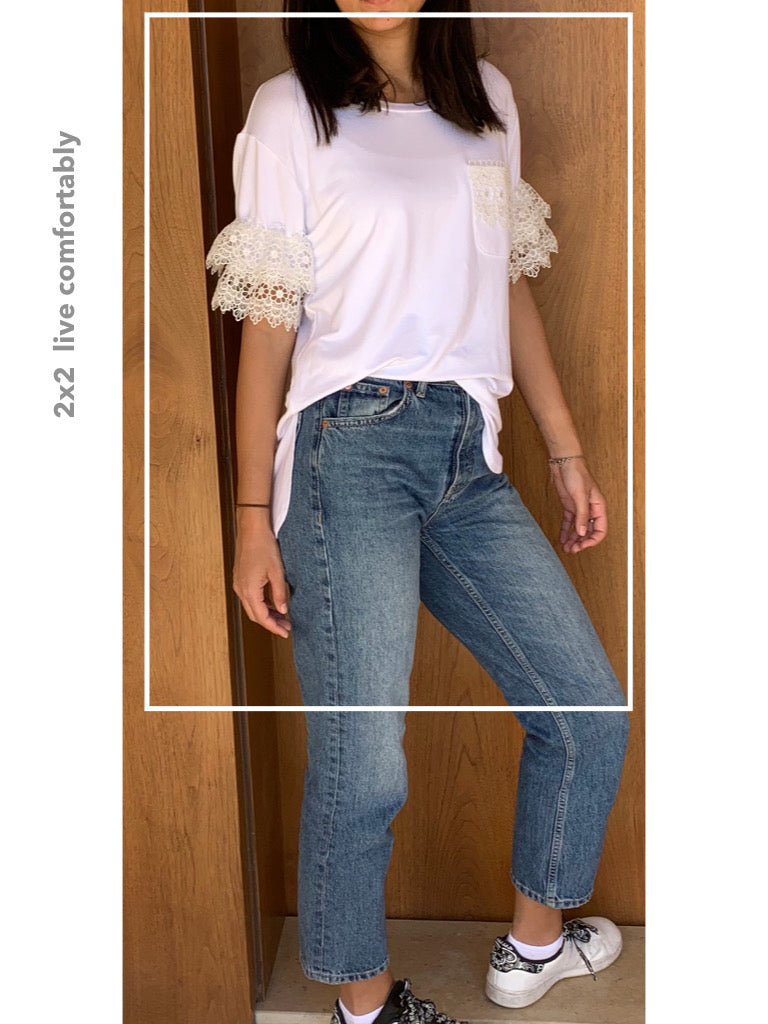 T-Shirt with Lace Sleeves - Model 33