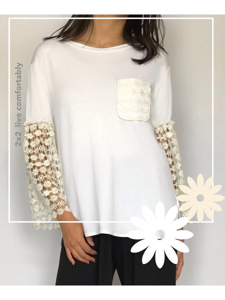 T-Shirt with Lace Long Sleeves  - Model 9