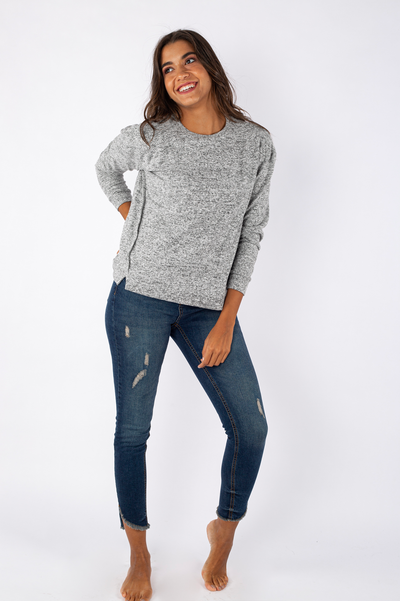 Short Sweater with Slits - 140003