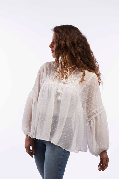 Puffy Sleeve Trim Blouse - B1134
