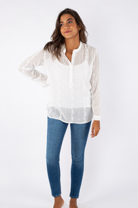 Embroidered Chiffon Blouse - 110008