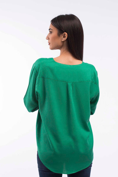 V-neck Relaxed Blouse - A1181