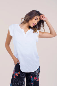 Sleeveless Dot Viscose Top - B1185