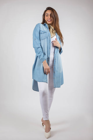 Dot Long Jeans Shirt - A11806