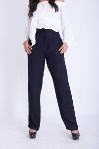 High Waist Pants with Belt -120026