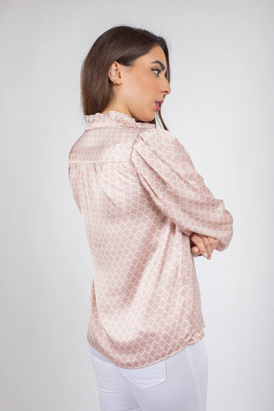 Satin Puffy Sleeves Blouse - 110049