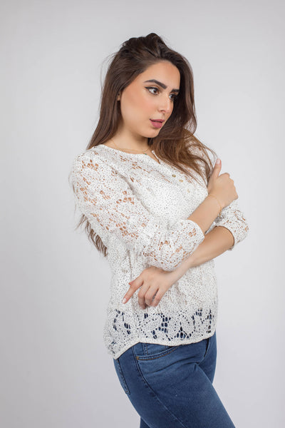 Dotted Lace Fitted Blouse - 110054