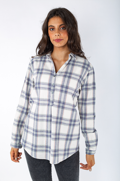 Cotton Flannel Shirt with Belt - 110022
