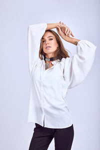 Puffy Sleeves Blouse -110056