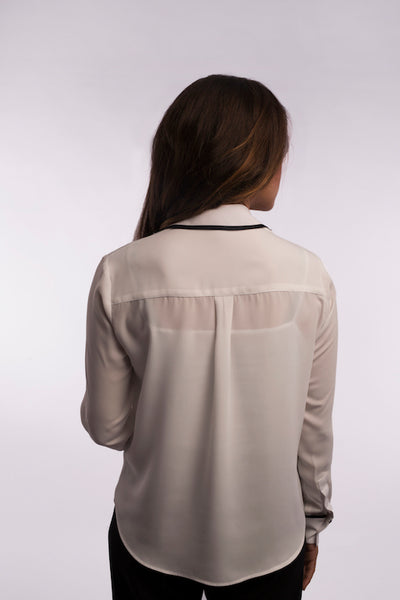 Contrast Piping Blouse - A1134