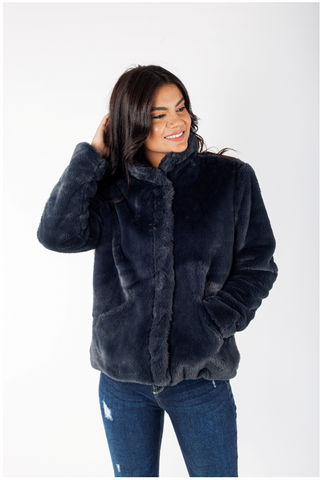 Fur Jacket with Snaps - 150003