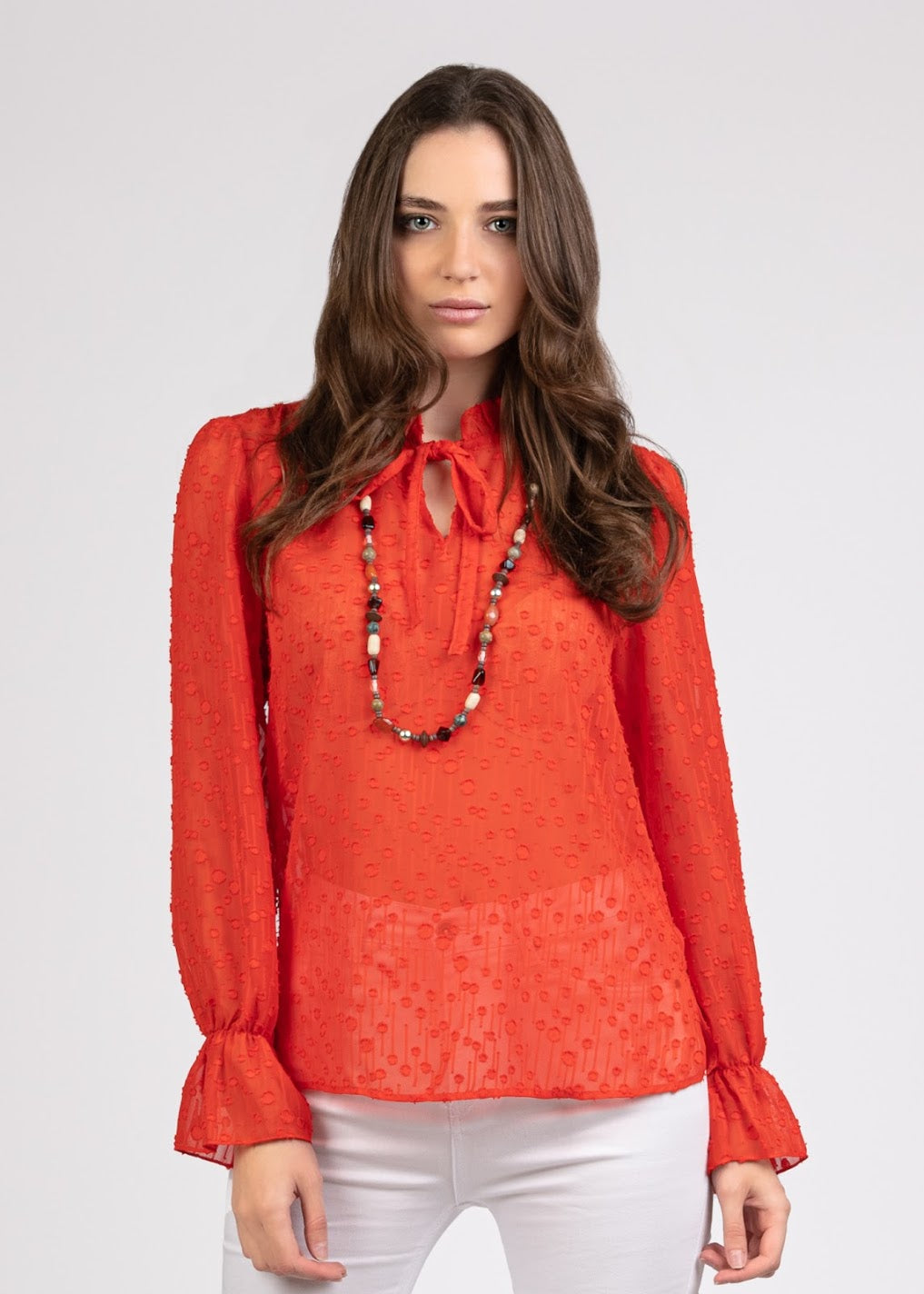 Fancy Chiffon Tie Bow Blouse- 110078