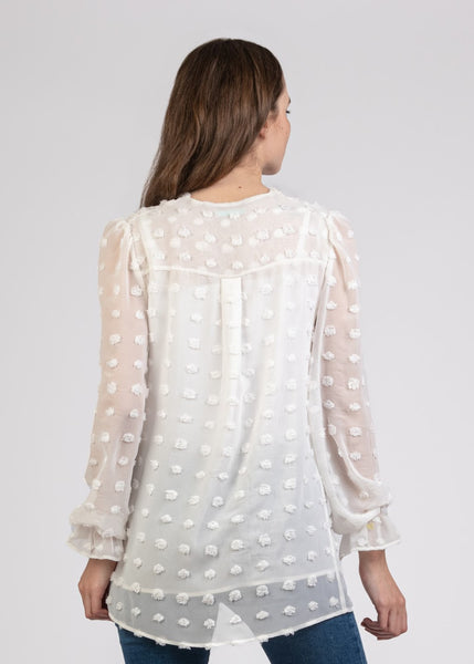 Big Dot Chiffon Blouse with Pleats - 110073