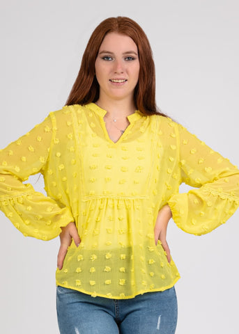 Big Dot Chiffon Blouse with Trim- 110074