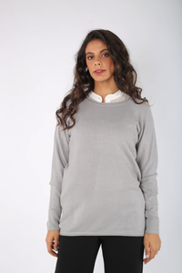 Knitted Top with Rolled Edges - 130004