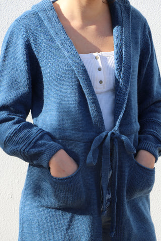 Long Knitted Jacket with Belt- 130019