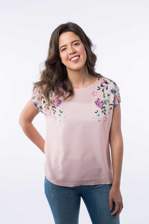 Top with Printed Flowers B1135