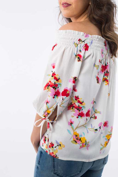 Elastic Shoulders Floral Blouse B1141