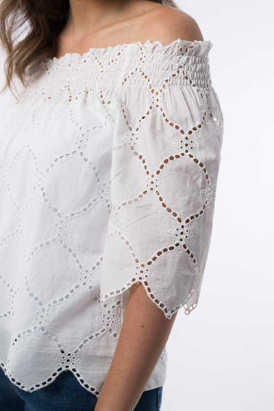 Embroidered Elastic Blouse B1191