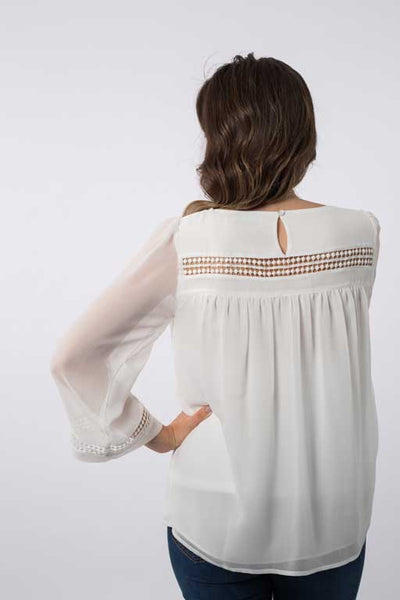 Lace Trim Blouse A1122