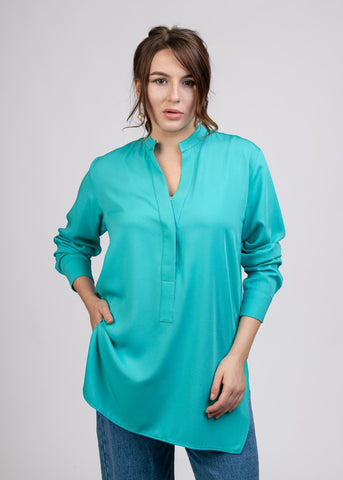 Loose Fit Chinese Collar Viscose Blouse - 110081