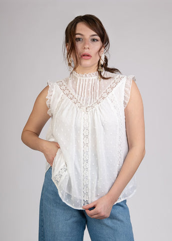 Sleeveless Dot Chiffon Top with Lace - 110084