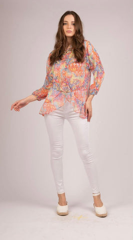 3/4 Sleeves Chiffon Blouse - S212