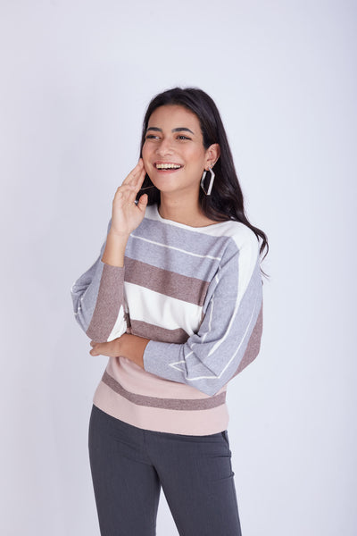 Striped Raglan Pullover- 130011
