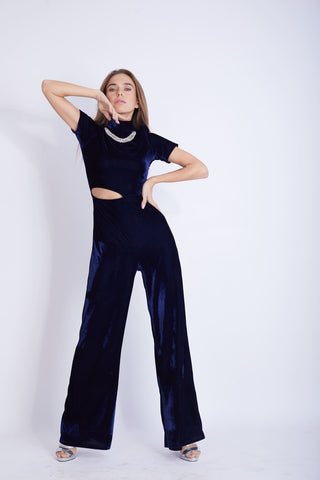 Cut Out Velvet Lycra Jumpsuit - VBJ1