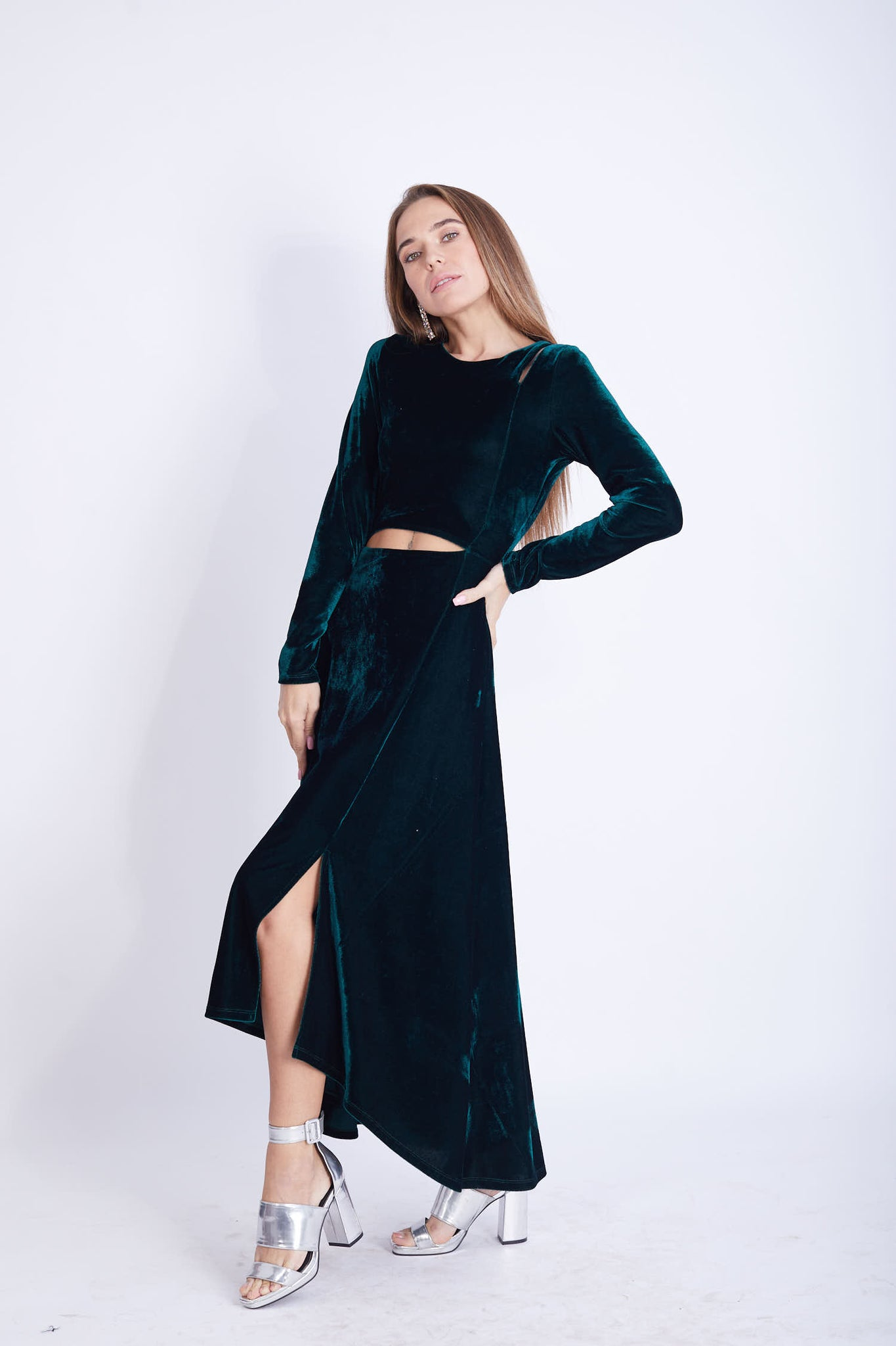 Cut Out Velvet Lycra Dress - VGD1