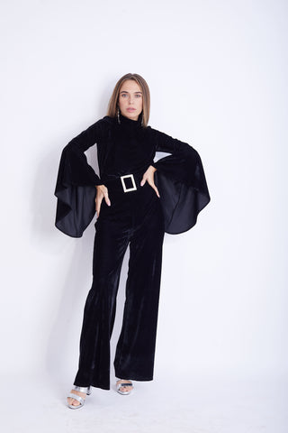 Wide Sleeves Lycra Velvet  Jumpsuit - VBJ2