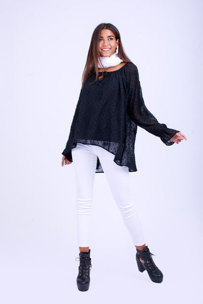 High Low Embroidered Dot Chiffon Blouse-110062