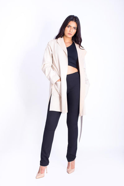 Suede Jacket with Belt - 150014
