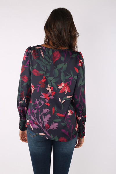Colored Flowers Satin Blouse-110003
