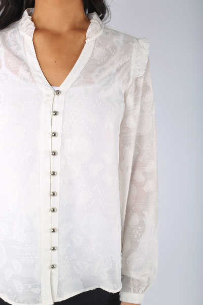 Embroidered Clip Blouse - 110020