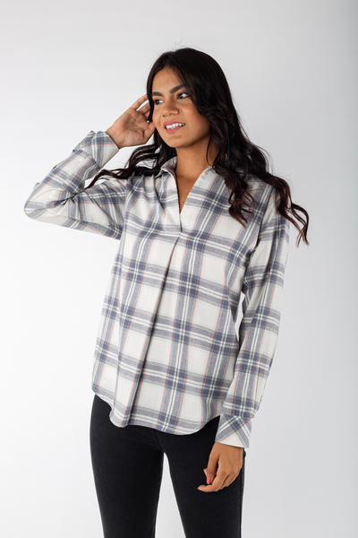 Cotton Flannel Loose Shirt - 110007
