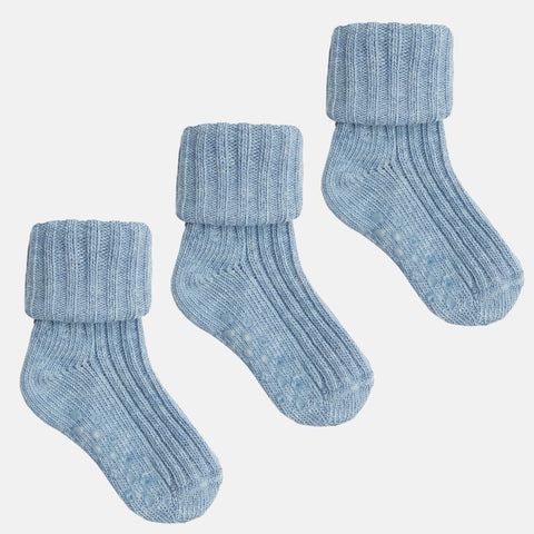 Non-Slip Stay on Cotton Ribbies - 3 pairs in Baby Blue