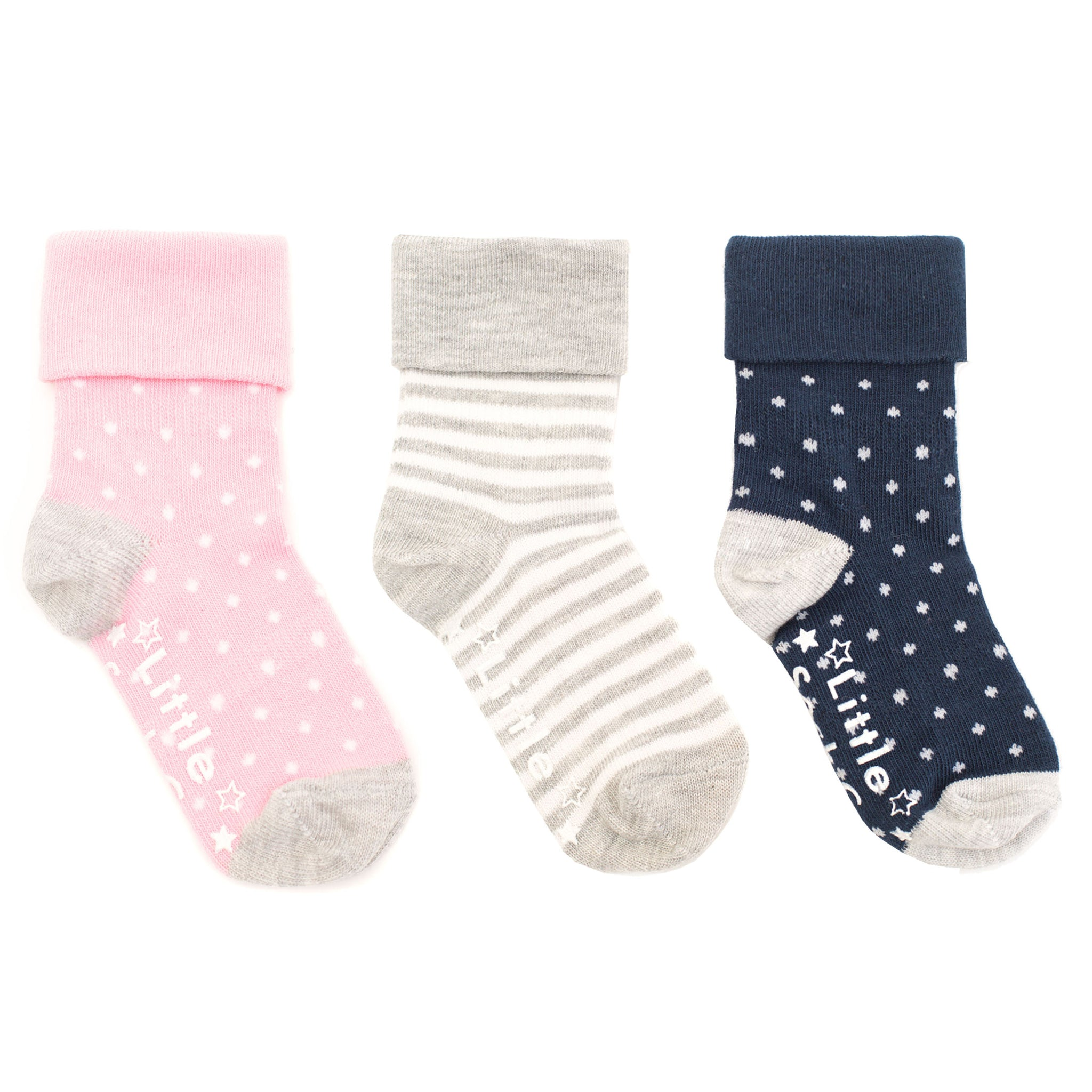Non-Slip Stay on Socks - 3 Pack in Candy Pink, Navy & Grey Marl